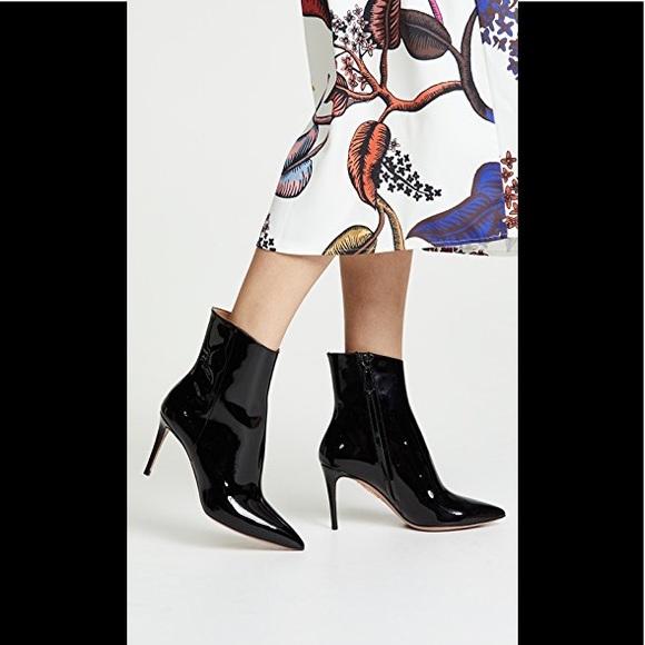 8cff2a5ed34 Aquazzura Alma 85 Patent Ankle Booties